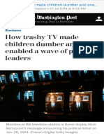 How Trashy TV Made Children Dumber and Enabled a Wave of Populist Leaders - The Washington Post