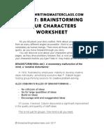 Create Character Worksheet
