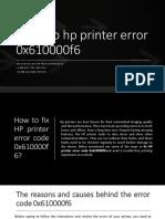 Steps to fix Hp Printer Error 0x610000f6