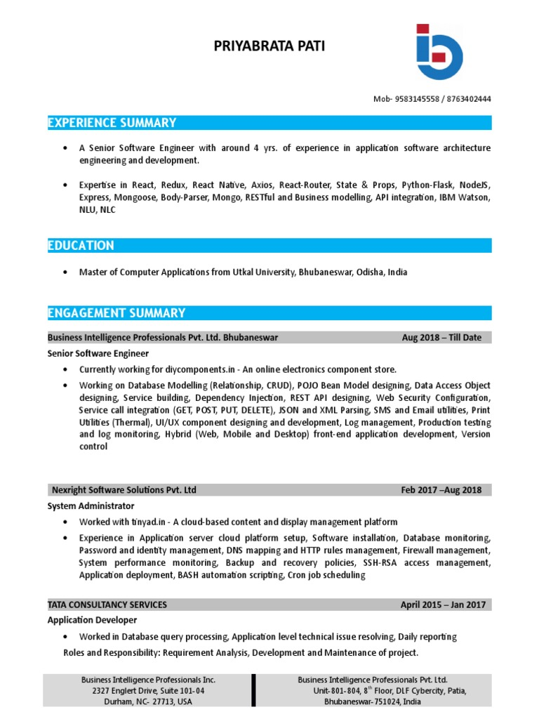 Business Intelligence Yst Resume | Priya Brat A Cloud Computing Databases