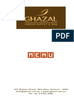 Ghazal Indian Restaurant Menu Melbourne