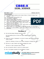 2019 Social Science Class 10th Question Paper