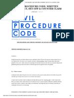 Civil Procedure Code_ Written Statement, Set-Off & Counter Claim