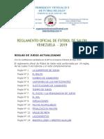 Reglas de Juego Actualizadas 2019 Futsal-AMF 2019 Venezuela