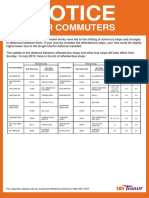 NOTICE FOR COMMUTERS