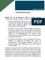 Comunicado de Prensa INPEC