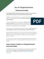 Empleo en Organizaciones Internacionales