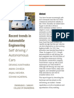 Abstract-Recent Trends in Automobile Engineering (Self Driving/Autonomous Cars)