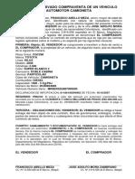 Contrato de Compraventa de Un Vehiculo Carro Camioneta Francisco Abello Meza a Jose Adolfo Mora Zambrano