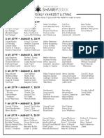 August 3, 2019 Yahrzeit List