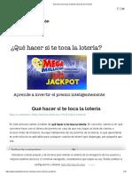 Qué Hacer Si Te Toca La Lotería _ El Club de Inversión