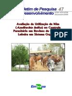 BOVINOS-Avaliação Do Nim No Controle Parasitário Em Sistema Orgânico-BPD.47-Embr