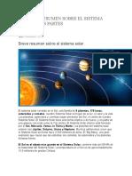 Pequeño Resumen Sobre El Sistema Solar y Sus Partes
