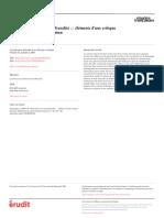 2001 - De l'Africanité à La Transculturalité Éléments d'Une Critique Littéraire Dépolitisée Du Roman [Article] - Semujanga, Josias