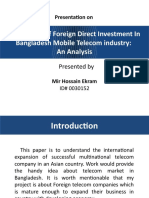 Possibilities of Foreign Direct Investment In Bangladesh Mobile Telecom industry