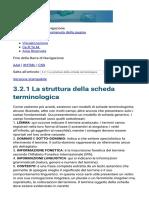 La Struttura Della Scheda Terminologica