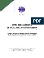 CARTA IBEROAMERICANA DE CALIDAD EN LA GESTIÓN PÚBLICA