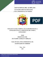 TESIS NACIONAL Nivel de Cultura Turística de Los Residentes de La Ciudad de Puno en La Percepción Del Turista Extranjero