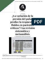 ¿La Variación de La Presión Del Pulso Predice La Respuesta a Fluidos en Pacientes Críticos_ Una Revisión Sistemática y Metaanálisis - AnestesiaR