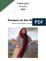 Cifras Fevereiro 2019 - Capela São José Operário - Guariba