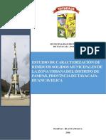Infome de Estudio de Caracterizacion de Residuos Solidos de Tayacaja