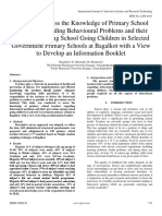 A Study to Assess the Knowledge of Primary School Teachers Regarding Behavioural Problems and their Prevention among School Going Children in Selected Government Primary Schools at Bagalkot with a View to Develop an Information Booklet