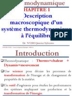Thermodynamique-Chapitre 1-Description Macroscopique d'Un Systeme Thermodynamique à l'Equilibre