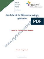 Histoire de la littérature négro- africaine Cours de Seconde et de Première