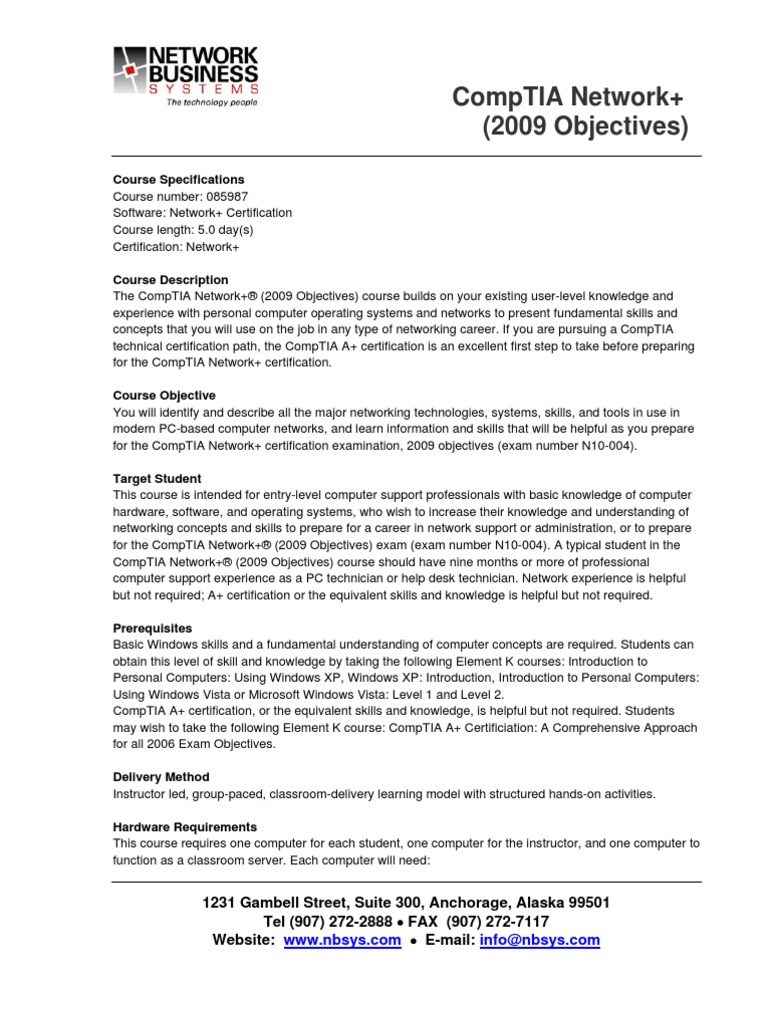 Network 2009 Objectives Comp Tia Computer Network