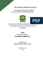 """""""Evaluación de La Eficiencia de Remoción de Turbidez de Un Floculante de Malachra Alceifolia Jacq (Malva) a Escala de Laboratorio"""