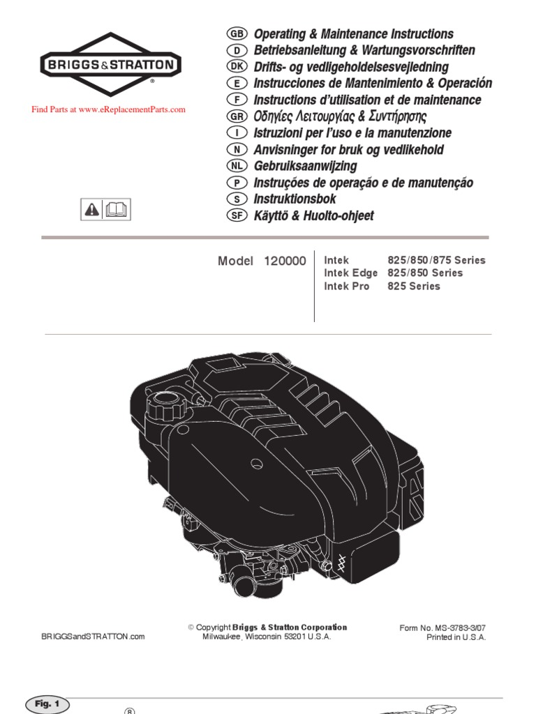 Intek Engine Manual Mossberg 702 Exploded Diagram Array Briggs And Stratton Operating Small Engines Gasoline Rh Scribd Com