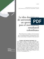La idea dominicana de universidad como un aporte de base para el movimiento estudiantil colombiano