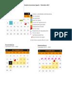 Calendario Licenciatura Agosto-Diciembre 2019