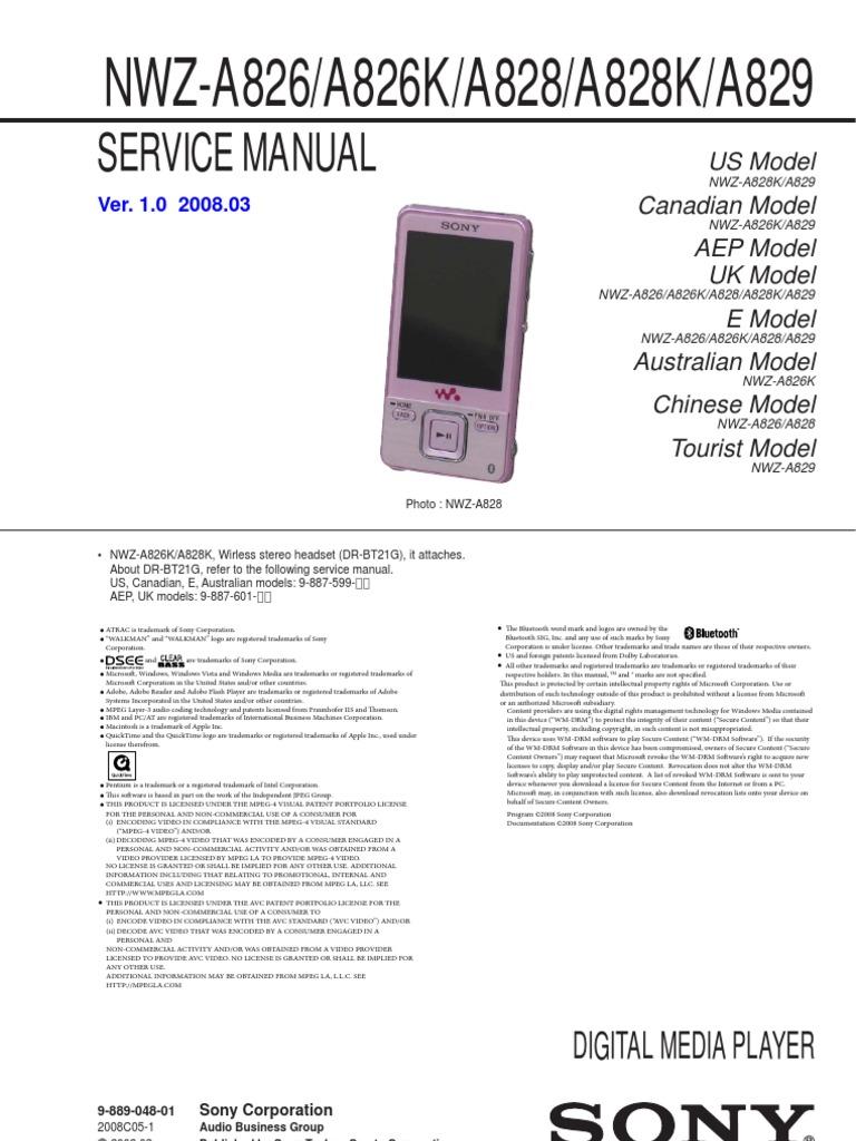 Sony_NWZ-A826_A828_A829_SM   H.264/Mpeg 4 Avc   Codec