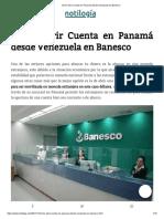 Cómo Abrir Cuenta en Panamá Desde Venezuela en Banesco
