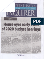Philippine Daily Inquirer, Aug. 5, 2019, House eyes early start of 2020 budget hearings.pdf