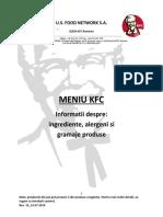 KFC Menu Informatii Suplimentare