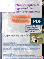 Post Insertion Complaints and Management in Complete Dentures