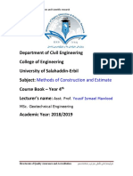 0 Coursebook Methods of Construction and Estimation 2018 2019_71b2ba76ee5b9acff515e0c6e86b3655