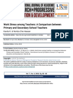 Work Stress Among Teachers a Comparison Between Primary and Secondary School Teachers