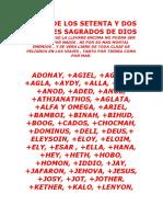 Tabla de Los 72 Nombres Sagrados de Dios (1)