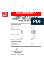 Certificado de Calidad Del Cemento Inka