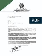 Carta de condolencias del presidente Danilo Medina al presidente de los Estados Unidos, Donald Trump