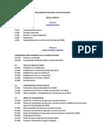 Reglamento Nacional de Edificaciones - Indice (2014)