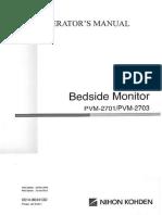 Nihon Kohden Vismo PVM-2701, 2703 Patient Monitor - User Manual