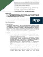 Memoria Descriptiva Arquitectura Mercado de Abastos Pampas