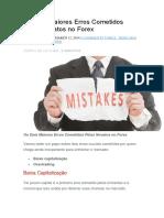Os Dois Maiores Erros Cometidos Pelos Novatos No Forex