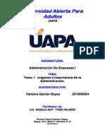 Administración de Empresas I Tarea 1