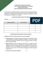 11. Formato Inscripción Proyecto de Grado