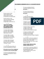 Canciones Decimonoveno Domingo Ordinario-ciclo C-2019